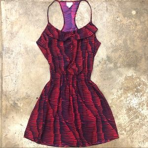 Parker Silk Mini Dress Straps Ruffle Abstract S